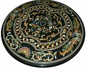 30and039and039 Black Marble Center Coffee Table Top Inlay Antique Pietra Dura Decor H6
