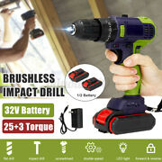 18v Cordless Brushless Impact Hammer Drill Combo Led W/1/2 Battery And Charger Set