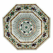 24and039and039 White Marble Table Top Center Corner Lapis Malachite Inlay Decor Antique K2