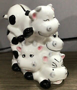 Vintage Ceramic Stacked 4 Cow Coin Bank Piggy Bank Bcute Cows 🐄 Black White F