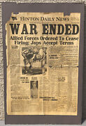 War Ended End Of World War Ii Wwii Hinton Wv Daily News Newspaper Front Page