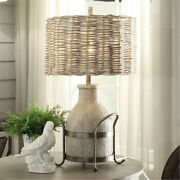 Crestview Collection Cvavp951 Dary Farm Table Lamp Milk Wood And Natural Iron