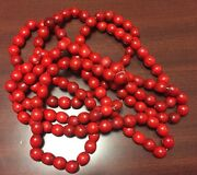 Primitive Wooden Red Beaded 9and039 Christmas Tree Garland Cranberry Color