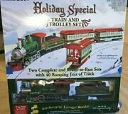 Bachmann Big Haulers Holiday Special G-scale Train And Trolley Set 2 Trains In One