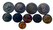 Great Britain Us Colonial 10 Copper Coins 1734 - 1835