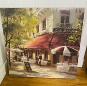 French Cafe Bistro Street Scene Wall Art 27 Inches X 27 Inches