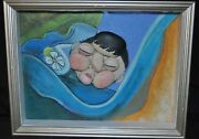 Original Picasso Style Stone Art By Leean Of Sleeping Woman Painted