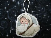 Finished Completed Christmas Woodland Santa Cross Stitch Ornament