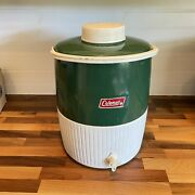 Vintage Coleman Water Jug Cooler Huge 3 Gallon With Lid Cup And Spout Green