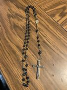 Vintage Antique Italy Black Beaded Rosary