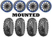Kit 4 Cst Stag Tires 28x9-14 On System 3 Sb-5 Beadlock Matte Gray Blue Ter