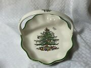 Spode England Christmas Tree Cookie Plate Handled Basket Platter Tray Candy Dish