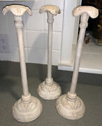 3 Vintage French Shabby Hat/wig Stands Shop Display Plaster Molded/resin