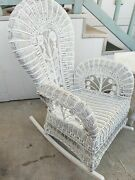 Lovely Large Vintage Victorian White Wicker Rocking Chair Rocker 4 Porch/patio