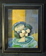 Original Stone Framed Of Picasso Style With Hand Painted Scene Art By Leean