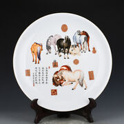 20.2china Old Dynasty Porcelain Qianlong Mark Colour Enamels Eight Horses Plate