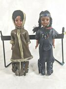 2 Vintage Native American Inuit Dolls With Eyes That Open And Close Real Leather
