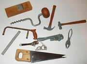 Lot Of Marx Pocket Toy Tools Hammer Wrench Saw Pipe Pliers Drill Brace Ruler