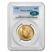 1932 10 Indian Gold Eagle Ms-64+ Pcgs Cac