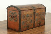 Swedish Immigrant Farmhouse Pine Trunk Hand Painted And Signed 1861 39060