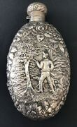Early Baltimore Jenkins And Jenkins Sterling Silver Repousse Hunting Scene Flask