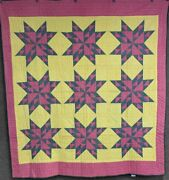 Farmhouse Pa C 1900 Feathered Star Quilt Antique Cranberry Red Green