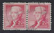 1033a 2andcent Jefferson Silknote Paper Liberty Issue Pair Collectible Stamps