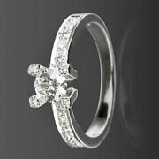 Round Cut Diamond Solitaire And Accents Ring Vvs1 18k White Gold Size 7 8 9