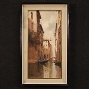 Signed Painting Landscape Venice Gondola Canal View Oil On Canvas Framework 900