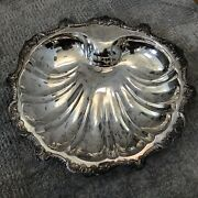 """Vintage Poole Epca """"old English 5013 Silver Plated Shell Plater With 3 Feet"""