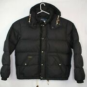 Vintage 90and039s Menand039s Polo Down Puffer Jacket Size Xl Hooded