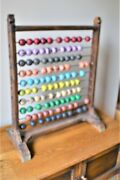 Huge Vintage Wooden Abacus Wood Primitive Tabletop 29 Tall X 23 Wide Giant