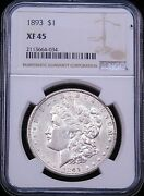 1893 P Morgan Silver Dollar Ngc Xf45 White Frosty Luster Pq For The Grade G710
