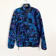 American Eagle Outfitters Menand039s Sz M Black Teal Purple Retro Print Sherpa Jacket