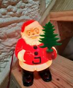Vtg Royal Electric Vintage Lighted Santa Claus Figure W/christmas Tree In Hand