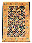 Vintage Hand-knotted Carpet 4and0391 X 5and03910 Traditional Dark Navy Wool Area Rug