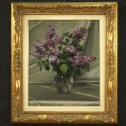 Signed And Dated Still Life Framework Vase Of Flowers Painting Oil On Canvas