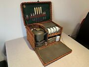 Edwardian Vintage 4-person Coracle Wicker Picnic Basket Set. G W Scott And Sons