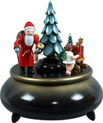 Music Box Santa Claus, 2 Angel With Sled Blue D=7 5/16in New Game Clock