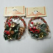 Vintage Williamsburg Pottery Factory Christmas Ornament Lot 2 Basket French Horn
