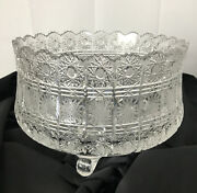 Large Abp American Brilliant Cut Clear Glass Crystal Punch Bowl Footed 11 X 7