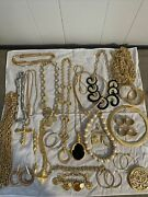 Vintage 80andrsquos Gold Silver Tone Haute Couture Runway 26 Pc Chunky Jewelry Lot