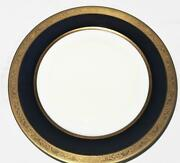 T And V Limoges Raynaud Conde Cobalt Blue, Gold Encrusted Dinner Plate, 9 7/8