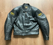 Vanson Leathers Motorcycle Black Leather Jacket Biker Riding Zip Patches