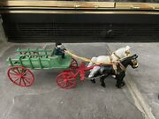 Cast Iron Horse And Wagon With Driver On Seat. I Believe This Is A Kenton
