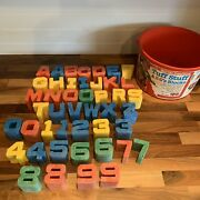 Vintage 1971 Mattel Tuff Stuff Chunky Abc Letters Blocks And Numbers 45 Pieces