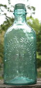 Antique Mineral Water Bottle Geyser Spring Saratoga Ny Whittled Rich Aqua Pint