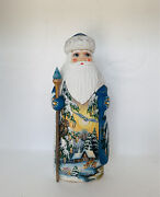 Wooden Russian Santa From Russia With Christmas Gift 7.5 And Sign By Artist