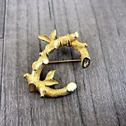 Authentic Vintage Sarah Coventry Gold Tone Tree Branch Twig With Leaves Brooch