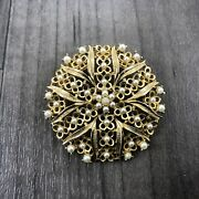 Authentic Vintage Sarah Coventry Gold Tone Flower Cluster Faux Pearl Brooch